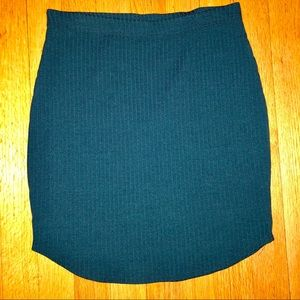 Teal Ribbed Bodycon Skirt NWOT